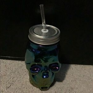 Vtg Glass Skull Sipper collectors item never used